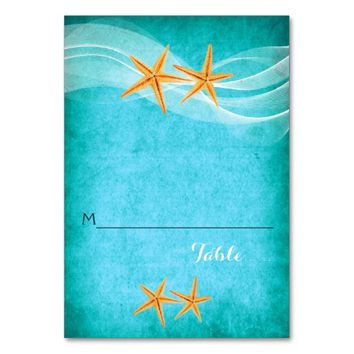 Starfish pair and veil beach wedding place card table card