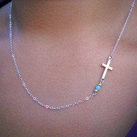 Sterling Silver Sideways Cross With Opal Necklace