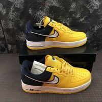 Nike Air Force 1 AF1 Low Two Tongue Logo Yellow Black Shoes - Best Online Sale