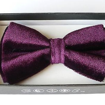 PURPLE SOFT VELVET TUXEDO ADJUSTABLE BOWTIE BOW TIE-NEW IN BOX!PURPLE BOW TIE