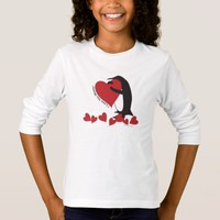 I Love You More! - Cute Penguin and Red Hearts T-Shirt