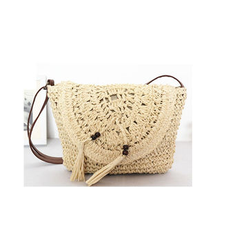 28X22CM The new 2016 crochet papyrus compiled tassel one shoulder soft lightweight straw bag beach holiday bags A2310