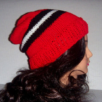 Knit striped mens red black and white, Mens Hat, Skaters, Hipster