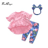 Tem Doge Baby Girl Clothing Sets 2018 Summer Cute Infant Newborn Baby Girl Clothes Tops+Leggings+Headband 3PCS Bebes Outfits Set