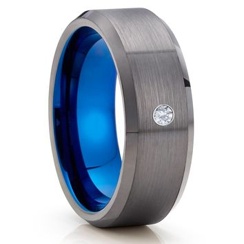 White Diamond Tungsten Ring - Gunmetal Tungsten Ring - Gray Tungsten Ring - Brush