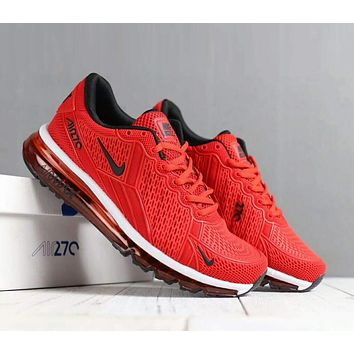 """NIKE"" Air Max 270 Popular Women Men Leisure Sports Running Shoes Sneakers Red I-SSRS-CJZX"