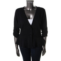 Style & Co. Womens Art of Contrast Textured Peplum Cardigan Top