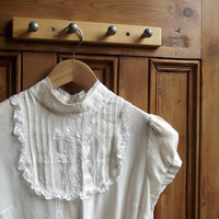 womens vintage silk lace blouse sheer shirt button back cream embroidered  feminine delicate romantic Uk 10 US 8