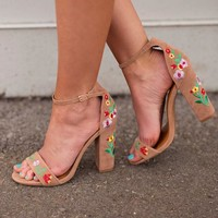 Brunch in the Garden Embroidered Heeled Sandals (Taupe)