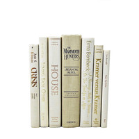 IVORY WHITE  Wedding Decor,  Decorative Books, Table Settings, Centerpiece, Book Collection, Set  Photo Props, Home, Interior Design, beige