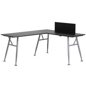 Laminate L-Shape Computer Desk with Frame Finish