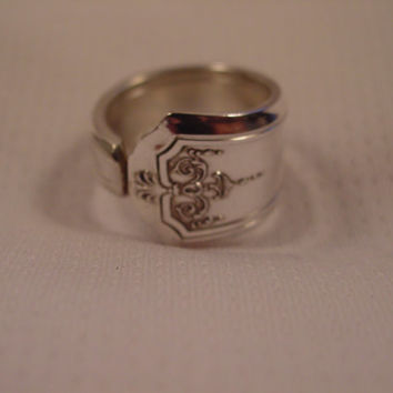 A Very Cute Size 7 Spoon Ring Antique Recycled Silverware Jewelry t56