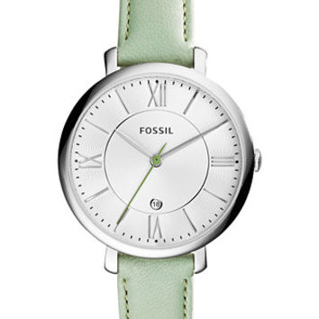 Fossil Women's Jacqueline Pastel Green Leather Strap Watch 36mm ES3734