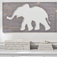 Gray Elephant Wood Plaque | Pottery Barn Kids
