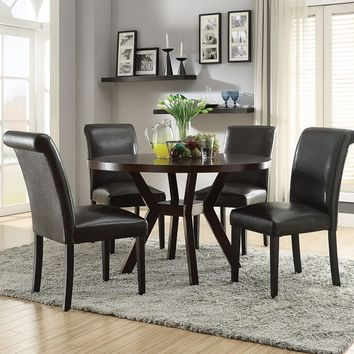 "Acme 16250-59759 5 pc drake espresso finish wood 48"" round dining table set"