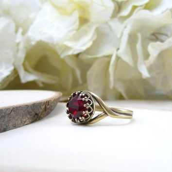Siam Swarovski Ring, Red Swarovski Crystal Ring, Siam Ruby Red Antique Brass Adjustable Cocktail Ring, Crown Bezel, Gift For Her