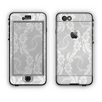 The White Floral Lace Apple iPhone 6 Plus LifeProof Nuud Case Skin Set