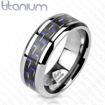 8mm Black with Blue Stripe Carbon Fiber Inlay Band Ring Solid Titanium Men's Ring