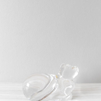 solid lead crystal cat figurine paperweight // by simplychi
