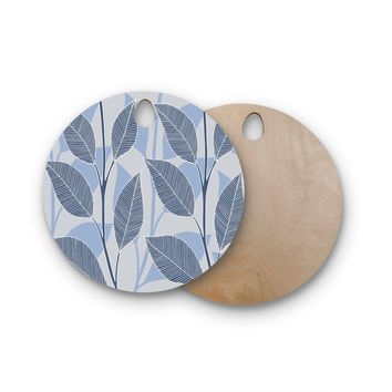"julia grifol ""Leaves In Blue"" Blue Gray Floral Pattern Vector Round Wooden Cutting Board"