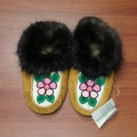 Moose Hide Moccasins Pink Flower Beaded Design