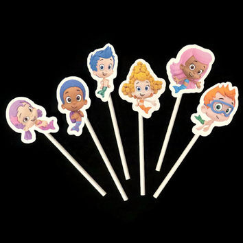 Bubble Guppies cupcake toppers, 12 kids birthday party decorations, cupcake picks