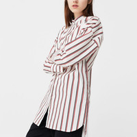 Striped cotton shirt - Woman | MANGO USA
