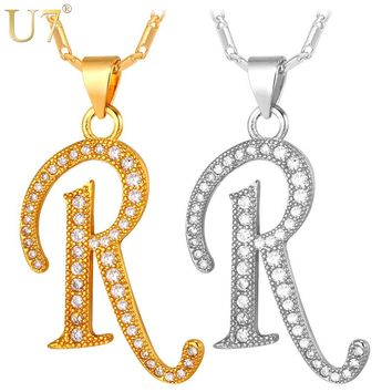 U7 Capital Initial R Letter Necklace & Pendant Gold Color Cubic Zirconia Crystal Alphabet Jewelry For Women Fashion P711