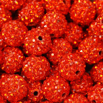 8mm Hyacinth Red Rhinestone Clay Round Pave Beads -25