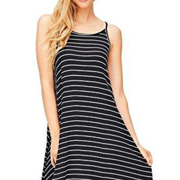 Ambiance Womens Striped A Line Skater Dress