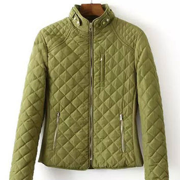 Stand Collar Quilted Knit Stitching Padded Coat