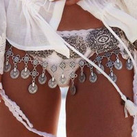 Silver Boho Coin Belt Belly Body Chain Waist Chain Turkish Gypsy Brinco Jewelry Ethnic