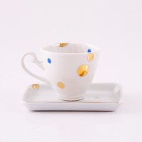 Porcelain Coffee Cup and Saucer - Vintage/Historical handle - Espresso - Gold/Blue - Geometric - Dots - Kitchen/Home