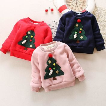 BibiCola Winter Children Kids Boys Girls cloths Christmas Sweater baby Plus Velvet Thick Sweatshirts for Girls Christmas outwear