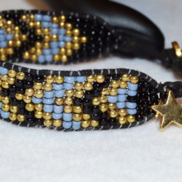 Star charm bracelet, black beaded bracelet, black and blue bangle, trendy stacking bracelet, boho Southwestern bracelet, Native American