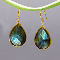 Faceted Labradorite  Vermeil Gold bezel set Earrings - Large Gemstone Earrings