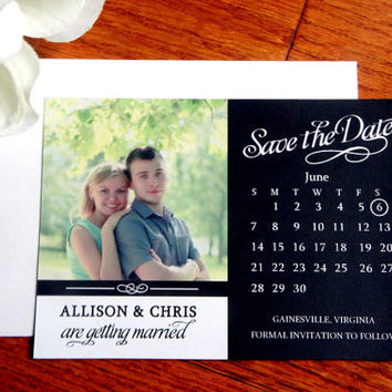 Save the Date Magnet – Photo Magnet, Wedding, Photo Save the Date, Black and White, Calendar Magnet, Save the Dates - DEPOSIT