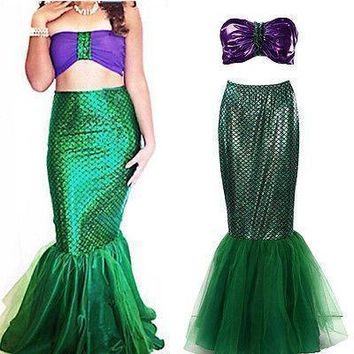 Two Piece Mermaid Women Halloween Cosplay Costumes