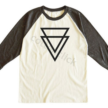 Double Triangle Shirt Upside Down Triangle Shirt Shape Shirt Hipster Shirt Unisex Tee Men Tee Women Tee Raglan Tee Shirt Baseball Tee Shirt