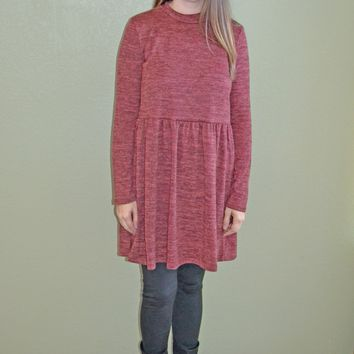 Affair of the Heart Sweater Dress: Brick Red