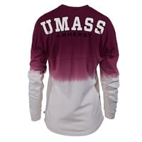 Official NCAA University of Massachusets Amherst Minutemen UMASS Sam the Minuteman WHEN TWIGHLIGHT SHADOWS DEEPEN! Women's Long Sleeve Tie Dye Spirit Wear Jersey T-Shirt