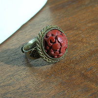 Vintage Chinese Export Carved Cinnabar Ring Dome Gilt Plated Adjustable