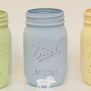 Spring Mason Jars / Mason Jar Decor / Painted Mason Jars / Chalk Mason Jars / Blue Mason Jars / Rustic Mason Jars  / Wedding Mason Jars