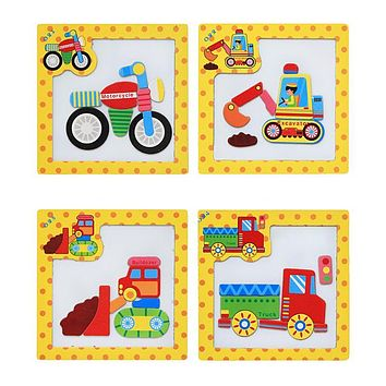 Wooden Kids Toy Baby 3D Magnetic Puzzle Tangram Jigsaw Board Construction Vehicle Truck Cognition Puzzle Child Educational Toy