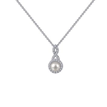 Lafonn Classic Sterling Silver Platinum Plated Lassire Simulated Diamond Necklace (0.28 CTTW)