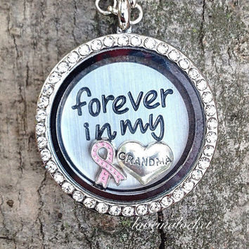 Grandma Memorial Locket, Breast Cancer Locket, Pink Ribbon Necklace, Pink Ribbon Locket, Grandma Floating Locket, Grandma Loss Gift, Memory