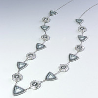 Hexagon and Triangle Long Chain Necklace, Silver, 378-2ne-slv