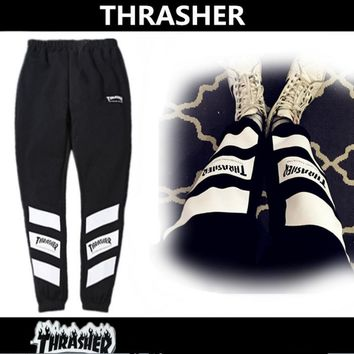 Thrasher floral brand flowers feet loose cashmere loose foot pants men and women with casual sports pants