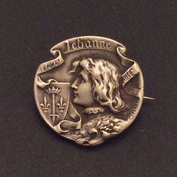 French Religious Medal Silver Joan of Arc Pin Brooch Vintage Jewelry
