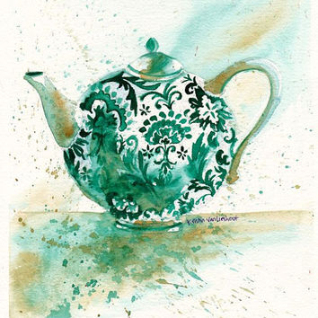 "Original Watercolor Painting High Tea Pot Kitchen Decor/Wall Art/ Gift for Mother's Day 8""X9"" by Kristin Glaze van Lieshout"